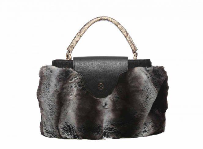 Modisches Handtaschen Cover aus Kunstpelz Chinchilla dunkel