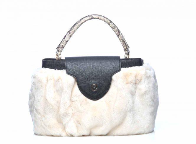 Modisches Handtaschen Cover aus Kunstpelz im Eisbär Stil